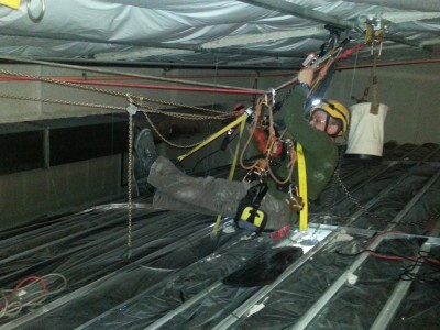 Confined space, at height